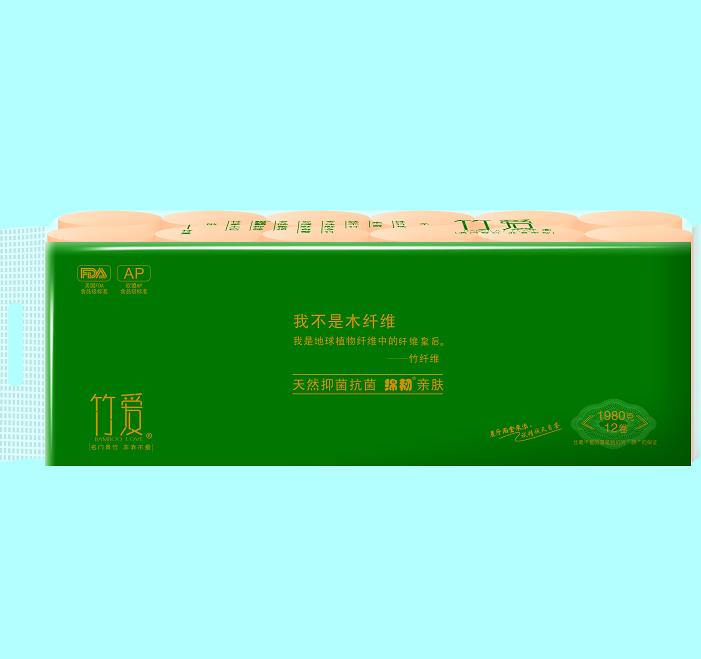 竹爱竹纤维竹浆本色卫生纸(双棒)